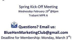 Blue Hen Marketing Club: Spring Kickoff Meeting