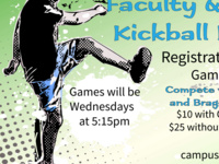 Registration Deadline for Faculty / Staff Kickball (9v9)