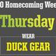 "Homecoming Spirit Week: Wear ""Duck"" Gear!"
