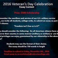 Veterans Day Essay Contest  Valencia College Veterans Day Essay Contest