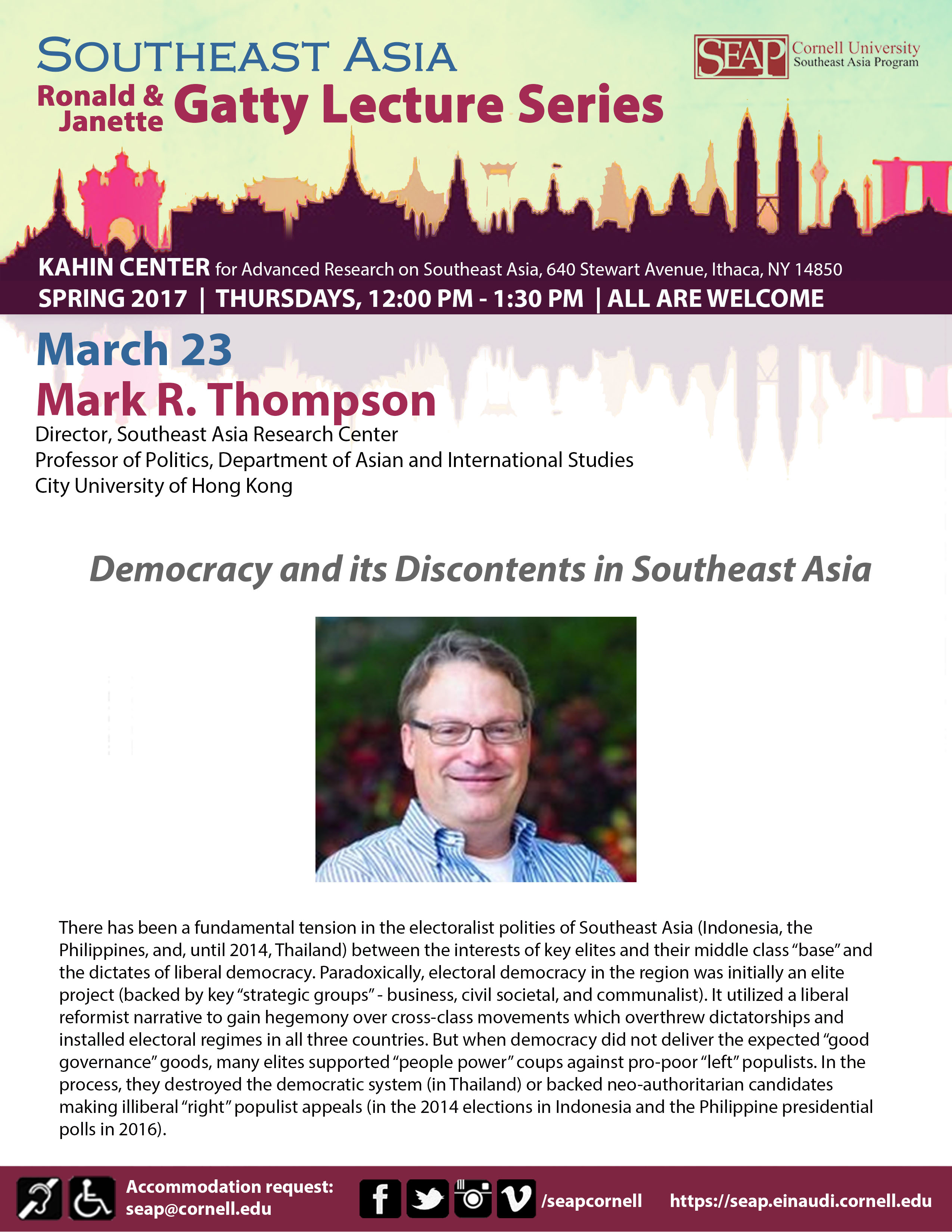 """SEAP Gatty Lecture Series: """"Democracy and its Discontents in Southeast Asia"""""""