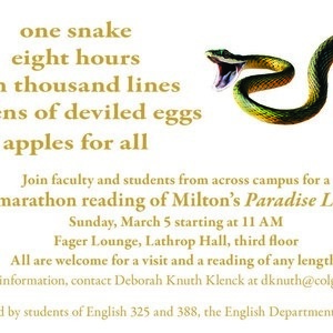 Miltonathon!  3rd annual marathon reading and snake cake-