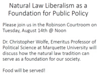 Natural Law Liberalism as a Foundation for Public Policy