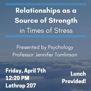 "Professor Jen Tomlinson: ""Relationships as a Source of Strength in Times of Stress"""
