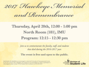 2017 Hawkeye Memorial and Remembrance