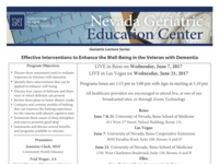 Effective Interventions to Enhance the Well-Being in the Veteran with Dementia (Las Vegas)