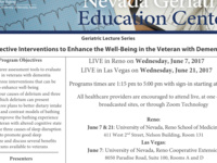 Effective Interventions to Enhance the Well-Being in the Veteran with Dementia (Elko)