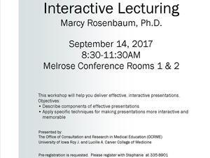 Skills for Educators Workshop: Interactive Lecturing