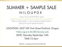 NILOUPDX.com Summer Sample + Fall Preview Sale
