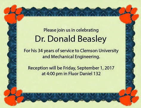 Retirement Reception for Dr. Don Beasley