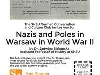 Nazis and Poles in Warsaw in World War II (talk by Dr. Jadwiga Biskupska)