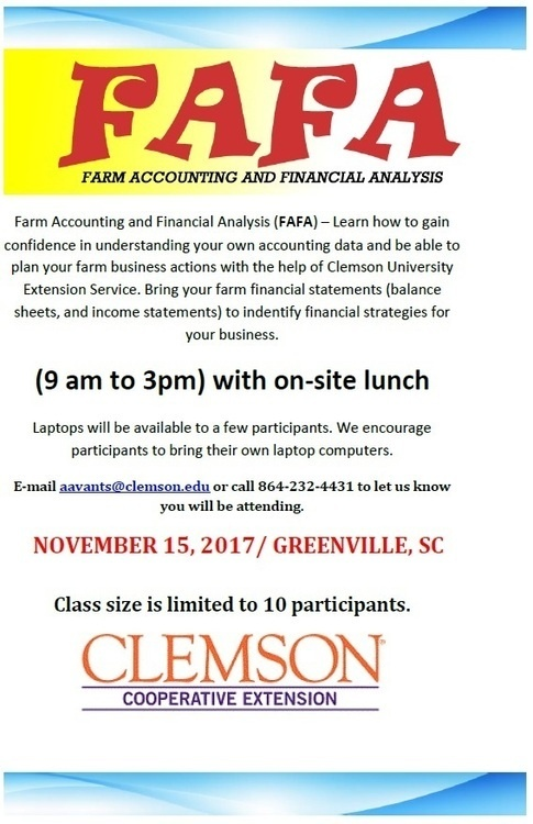 Farm Accounting and Financial Analysis (FAFA)