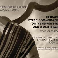 "Poet Ed Segal Reads & Discusses ""Heritage"": Poems on Biblical & Jewish Themes"