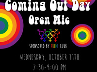PRIDE National Coming Out Day Open Mic
