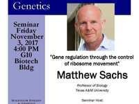 "MBG Friday Seminar with Matthew Sachs ""Gene regulation through the control of ribosome movement"""