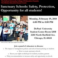 College of Education Winter Forum 2018 - Sanctuary Schools: Safety, Protection, Opportunity for all students!
