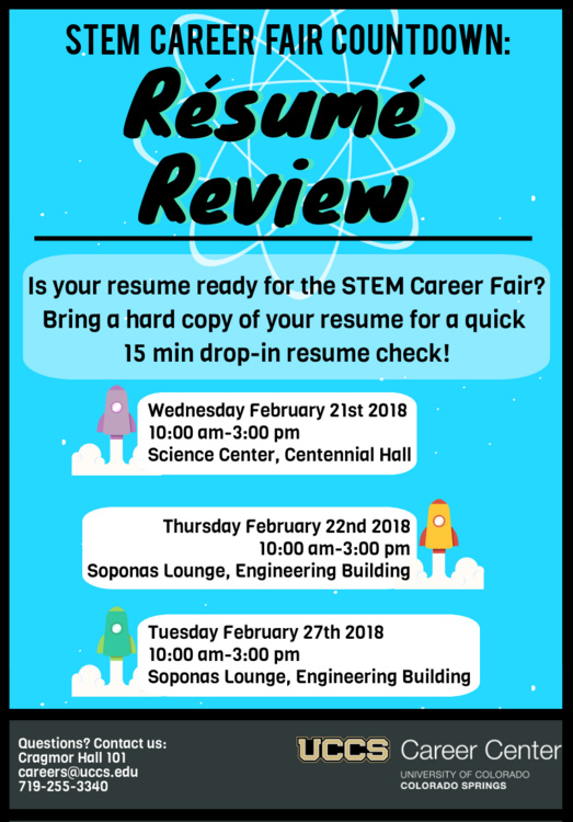 resume review stem career fair countdown uccs events calendar