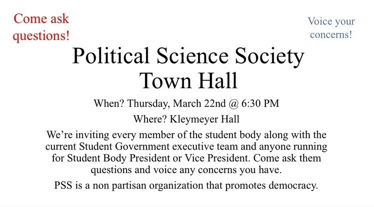 Political Science Society Town Hall At Kleymeyer Hall