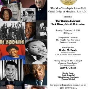 Prince Hall Grand Lodge of MD - Thurgood Marshall Black History Month Celebration