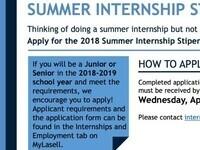 Summer Internship Stipend 2018 Application