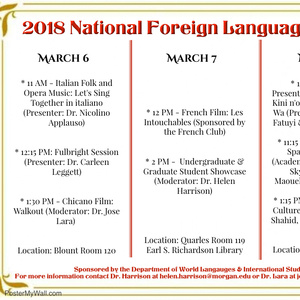 2018 National Foreign Language Week (3/6, 3/7 & 3/8)