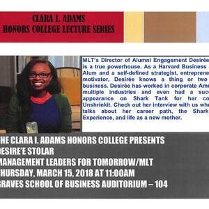 CLARA I. ADAMS HONORS COLLEGE LECTURE SERIES