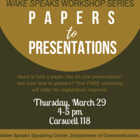 Wake Speaks Workshop