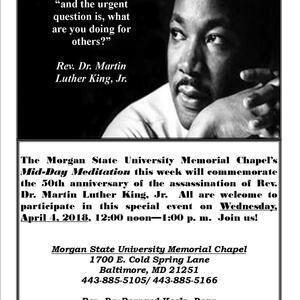 Mid-Day Meditation Commemorates 50th Anniversary of Assassination of Rev. Dr. Martin Luther King, Jr.