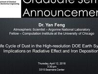 CBE:5000 Graduate Seminar Presentation by Dr. Yan Feng