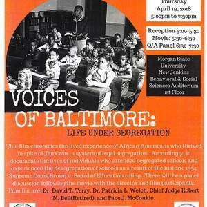 Movie Premiere Sponsored by: Morgan State University's Department of Teacher Education, Robert M. Bell Center for Civil Rights in Education, and the Clara I. Adams Honors College