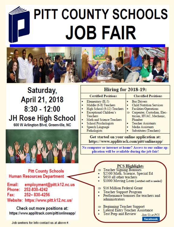 PITT COUNTY SCHOOLS JOB FAIR - East Carolina University