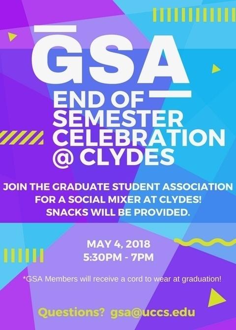 GSA End of Semester Celebration at Clydes!