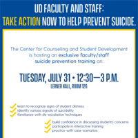 Suicide prevention training for UD faculty and staff