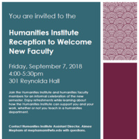 Humanities Institute Reception to Welcome New Faculty