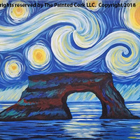 Paint & Sip WINE TASTING EVENT ~ Featuring BURRELL SCHOOL VINEYARDS! ~ Starry Night over Natural Bridges ~ Ages 21 and up ~