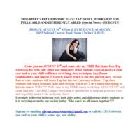 Free Inclusion Rhythmic Jazz Tap Dance Workshop