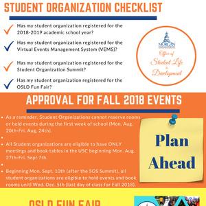 Student Organization Check List