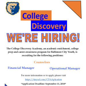 "College Discovery "" WE'RE HIRING!"""