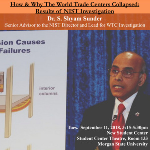 D-RED Speaker Series: How & Why the World Trade Center Collapsed w/Dr. S. Shyam Sunder