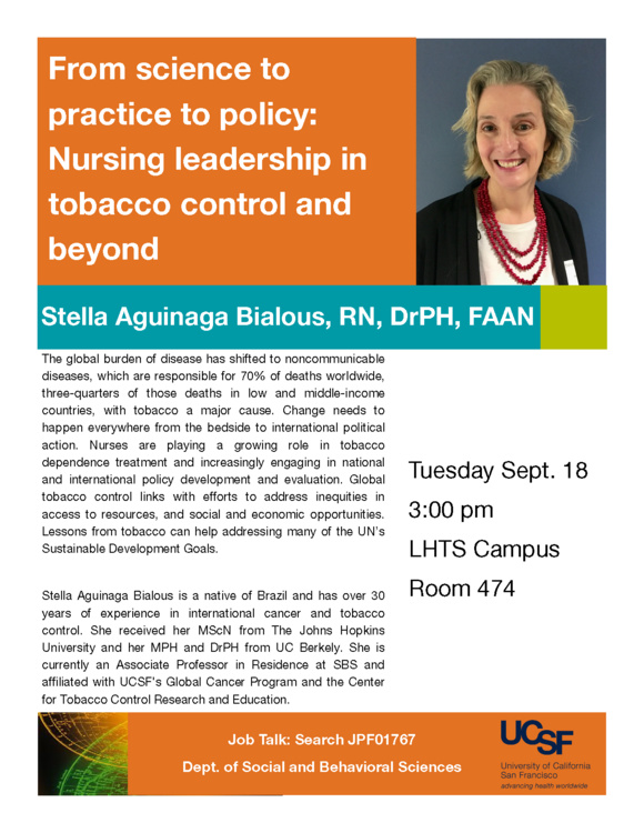 Sep 18, 2018: Job Talk: From science to practice to policy: Nursing leadership in tobacco control and beyond at Laurel Heights
