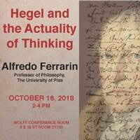 "NSSR Philosophy Department Lecture Alfredo Ferrarin ""Hegel and the Actuality of Thinking"""
