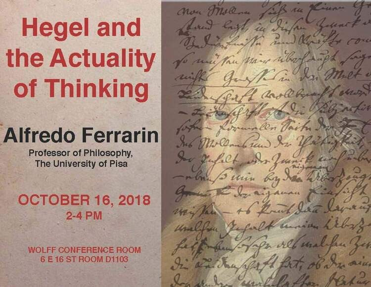 """NSSR Philosophy Department Lecture Alfredo Ferrarin """"Hegel and the Actuality of Thinking"""""""