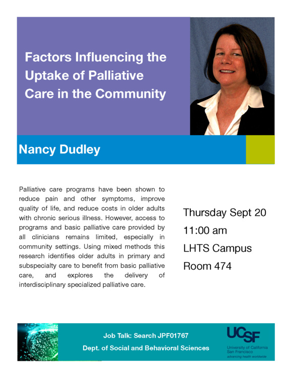 Sep 20, 2018: Job Talk: Factors Influencing the Uptake of Palliative Care in the Community at Laurel Heights