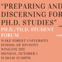 Preparing and Discerning for Ph.D. Studies