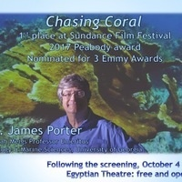 "Dr. James Porter to speak on ""Chasing Coral"" after screening"