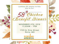 Lambda Chi's 58th Annual Chicken Benefit Dinner