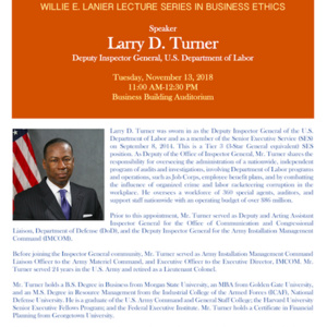 Willie E. Lanier Lecture Series in Business Ethics w/Larry D. Turner