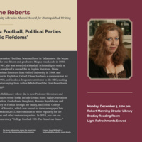 """""""American Tribes: Football, Political Parties and Other Psychic Fiefdoms,"""" A Talk by Diane Roberts"""