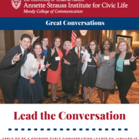 Apply Today: Student Table Conversation Leader for the Annette Strauss Institute for Civic Life