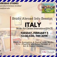 Study Abroad Info Session: Studio Art Centers International (SACI)